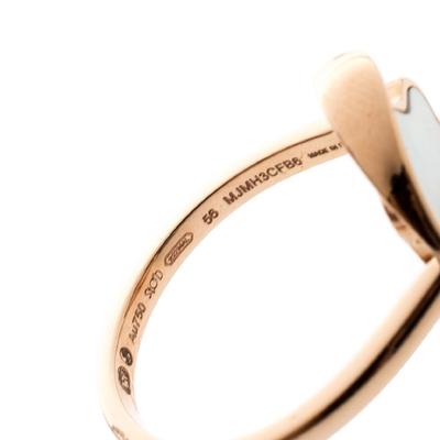 Montblanc Rotating Emblem Mother of Pearl 18k Rose Gold Ring Size 56 201747 - 6