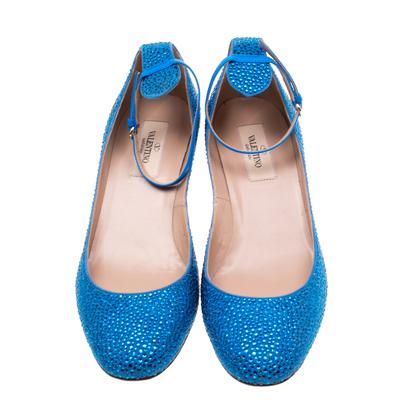Valentino Blue Crystal Embellished Suede Block Heel Ankle Strap Pumps Size 40 297536 - 2