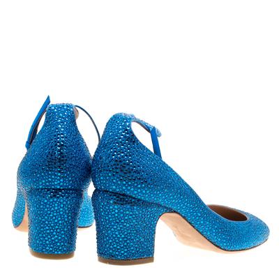 Valentino Blue Crystal Embellished Suede Block Heel Ankle Strap Pumps Size 40 297536 - 4