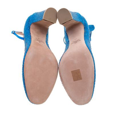 Valentino Blue Crystal Embellished Suede Block Heel Ankle Strap Pumps Size 40 297536 - 5