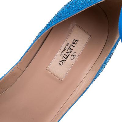 Valentino Blue Crystal Embellished Suede Block Heel Ankle Strap Pumps Size 40 297536 - 6