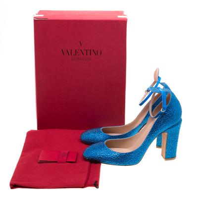 Valentino Blue Crystal Embellished Suede Block Heel Ankle Strap Pumps Size 40 297536 - 7