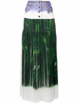 Victoria Beckham плиссированная юбка макси со вставкой SKLNG3842MSS19