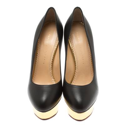 Charlotte Olympia Black Leather Dolly Platform Pumps Size 39 183881 - 2