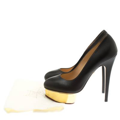 Charlotte Olympia Black Leather Dolly Platform Pumps Size 39 183881 - 7