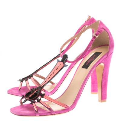 Valentino Pink Suede And Leather Love Blade T Strap Sandals Size 40 183940 - 3