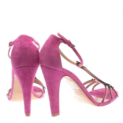 Valentino Pink Suede And Leather Love Blade T Strap Sandals Size 40 183940 - 4