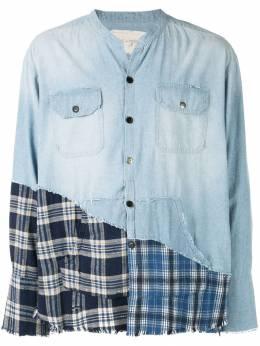 Greg Lauren джинсовая рубашка с контрастной вставкой M112M