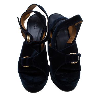 Chloe Dark Blue Velvet Block Heel Cross Strap Platform Sandals Size 40 183789 - 2