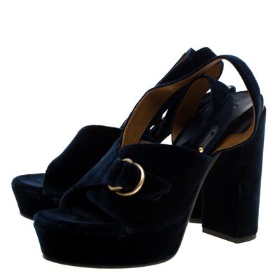 Chloe Dark Blue Velvet Block Heel Cross Strap Platform Sandals Size 40 183789 - 3