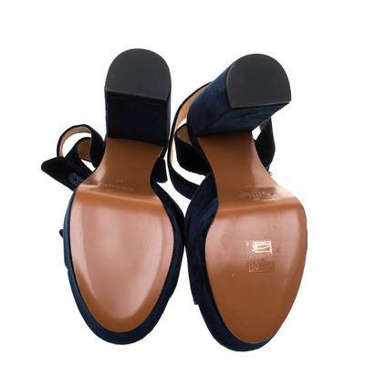 Chloe Dark Blue Velvet Block Heel Cross Strap Platform Sandals Size 40 183789 - 5