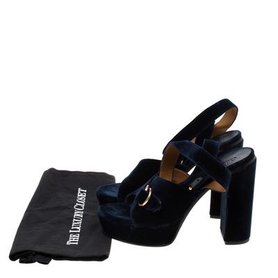 Chloe Dark Blue Velvet Block Heel Cross Strap Platform Sandals Size 40 183789 - 7