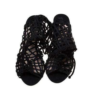 Sophia Webster Black Suede Delphine Peep Toe Cage Sandals Size 39.5 183725 - 2