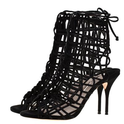 Sophia Webster Black Suede Delphine Peep Toe Cage Sandals Size 39.5 183725 - 3