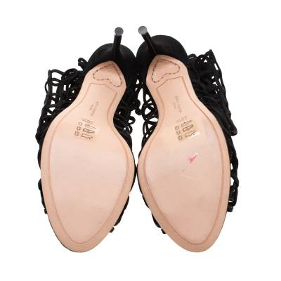 Sophia Webster Black Suede Delphine Peep Toe Cage Sandals Size 39.5 183725 - 5