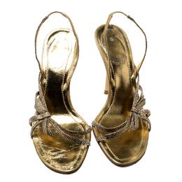 Rene Caovilla Metallic Gold Crystal Embellished Leather Open Toe Slingback Sandals Size 37 199807