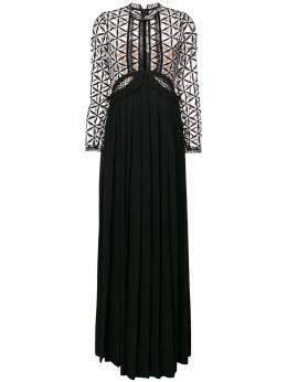 Self-Portrait гипюровое платье макси с вырезными деталями SP15041
