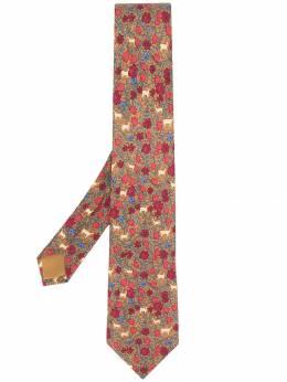 Hermes галстук с цветочным узором pre-owned HER180AZ