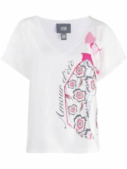 Roberto Cavalli Class футболка с V-образным вырезом и принтом B2ITB73197548