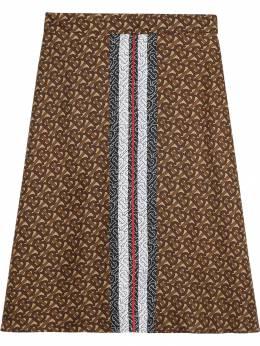 Burberry юбка с монограммой и принтом в полоску 8018547
