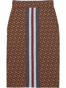 Burberry юбка-карандаш с монограммой и принтом в полоску 8018705