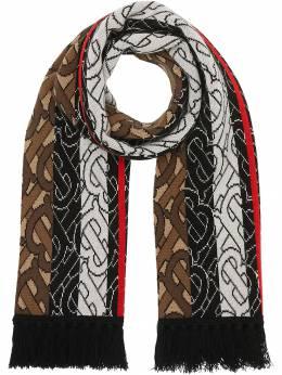 Burberry шарф в полоску с монограммой 8018615