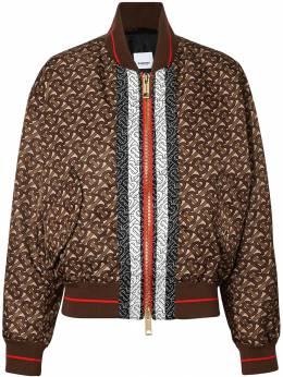 Burberry куртка-бомбер с монограммой и принтом в полоску 8021293