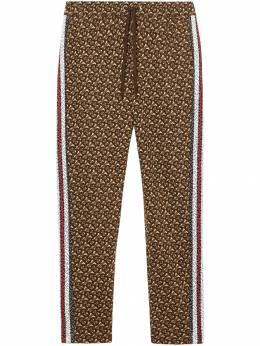 Burberry спортивные брюки с монограммой и лампасами в полоску 8018242