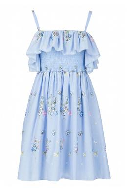 Голубое платье с вышивкой Blugirl 1916144393