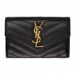 Saint Laurent Black and Gold Small Monogramme Envelope Wallet 414404 BOW01