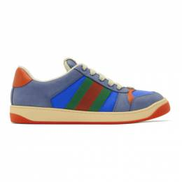 Gucci Blue and Orange Screener Sneakers 576223 9PYQ0