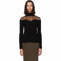 Fendi Black Lace Knit Turtleneck FZY867 A8US
