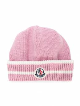Moncler Kids - шапка-бини с заплаткой с логотипом 9965969BY93003596000