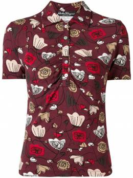 Salvatore Ferragamo Pre-Owned рубашка-поло с цветочным принтом 1970-х годов SFE180D
