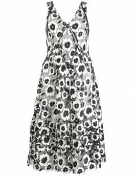 Self-Portrait расклешенное платье с цветочной вышивкой SP22082L