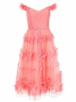 Marchesa Notte многослойное платье с цветочными оборками N32C0951