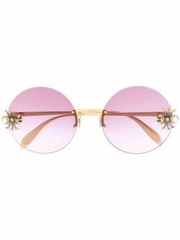 Alexander McQueen Eyewear солнцезащитные очки в круглой оправе AM0207S