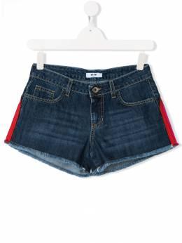 MSGM Kids джинсовые шорты с полосками и логотипом 019039