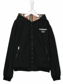 Burberry Kids куртка с капюшоном и логотипом 8013424