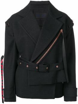 Proenza Schouler Belted Asymmetrical Logo Pull Coat R174105AWM64
