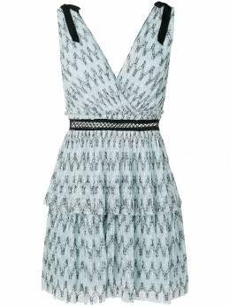 Self-Portrait узорчатое платье с двухъярусной юбкой SP17073S