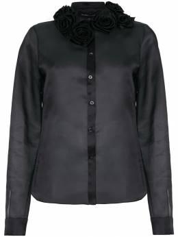 Gloria Coelho flower appliqué silk shirt V18C004