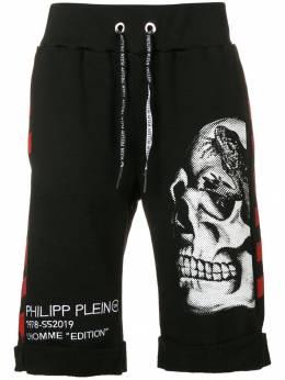 Philipp Plein спортивные шорты с изображением черепа S19CMJT0896PJO002N