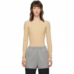 Mm6 Maison Margiela Beige Long Sleeve Bodysuit S32NA0017 S20518