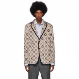 Gucci Beige Knit GG Blazer 575292 ZABL5