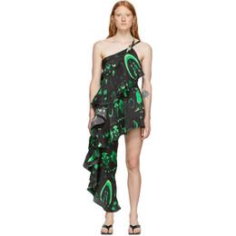 Marine Serre Black and Green Asymmetric Hybrid Flamenco Dress D38FW19