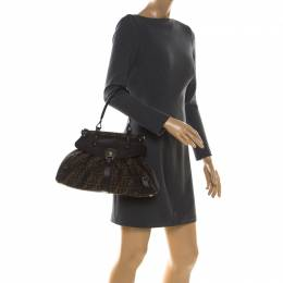 Fendi Brown Zucca Canvas and Leather Magic Shoulder Bag 213370