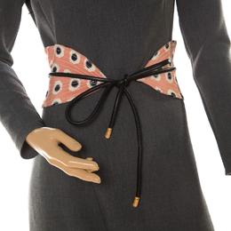 Etro Peach/Black Fabric and Leather Waist Belt 212821