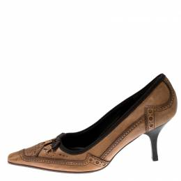 Prada Brown Brogue Leather Pointed Toe Pumps Size 38 212777
