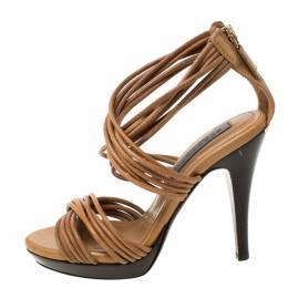 Burberry Brown Leather Crisscross Platform Sandals Size 35 213351